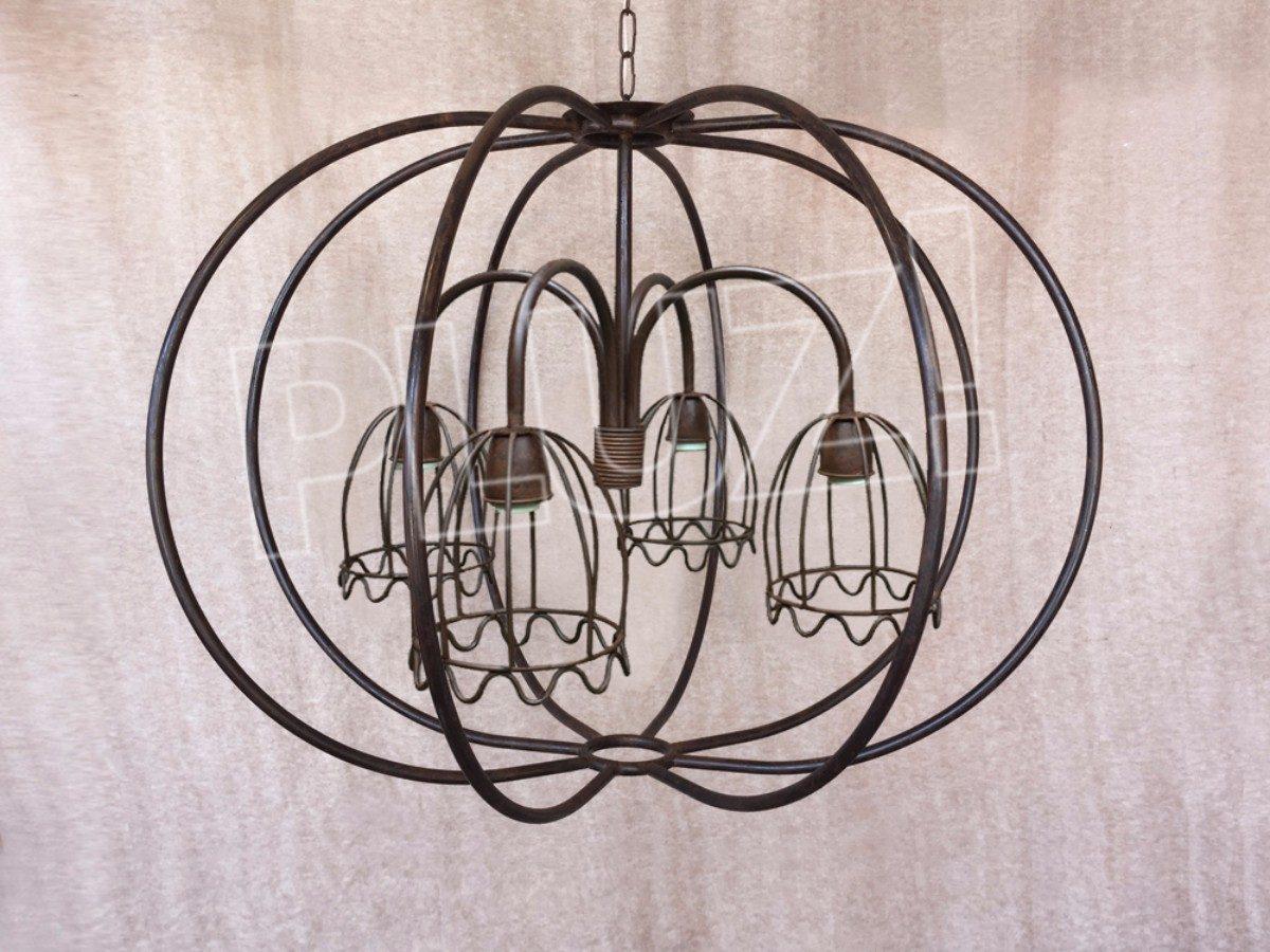 Lámpara Colgante Globo Grande Araña 4 Luces...
