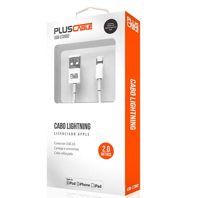 CABO USB IPHONE 5 E 6 LIGHTTNING CERTIFICADO 2 METROS PLUSCABLE USB-LT2002WH BRANCO