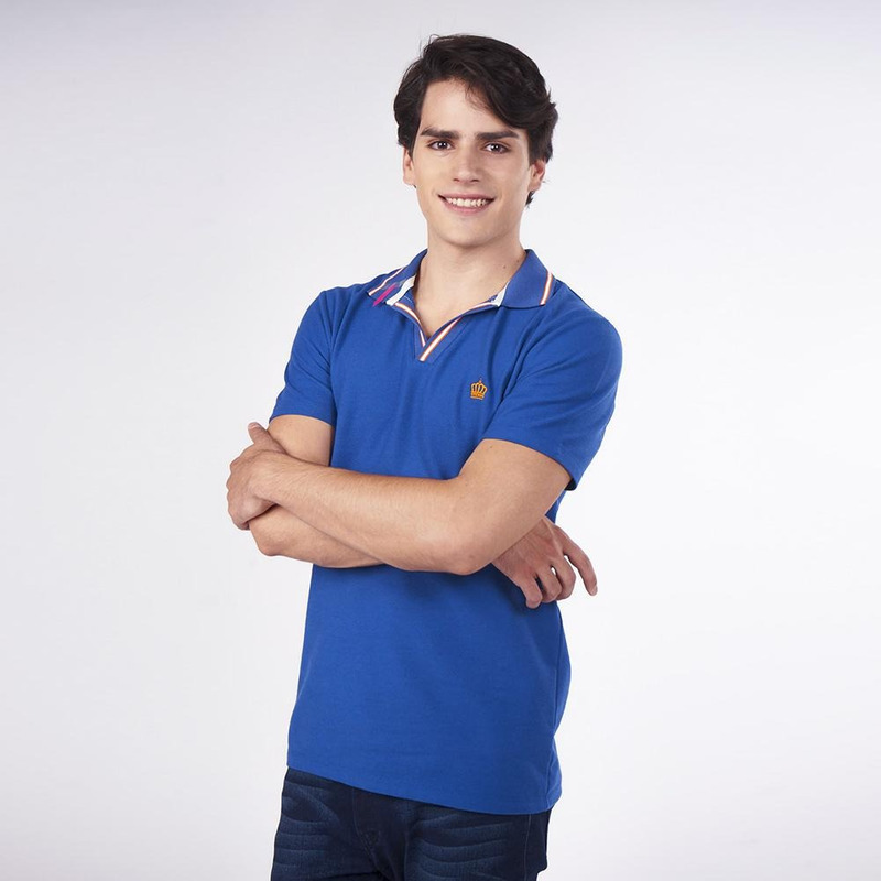 Camisa Azul Con Cuello Multicolor 019288