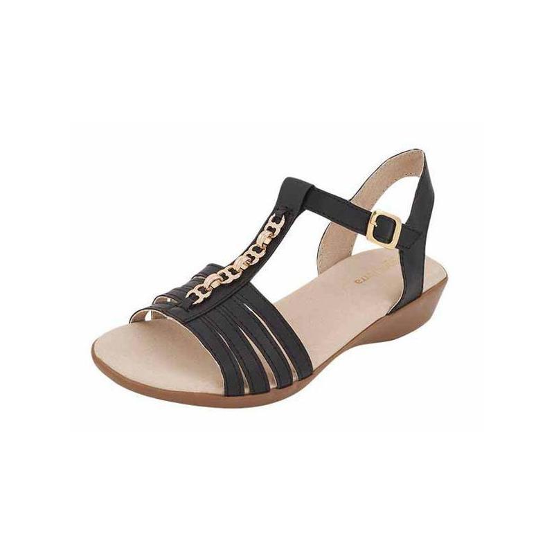 Sandalia piso negra con pedrería 017150