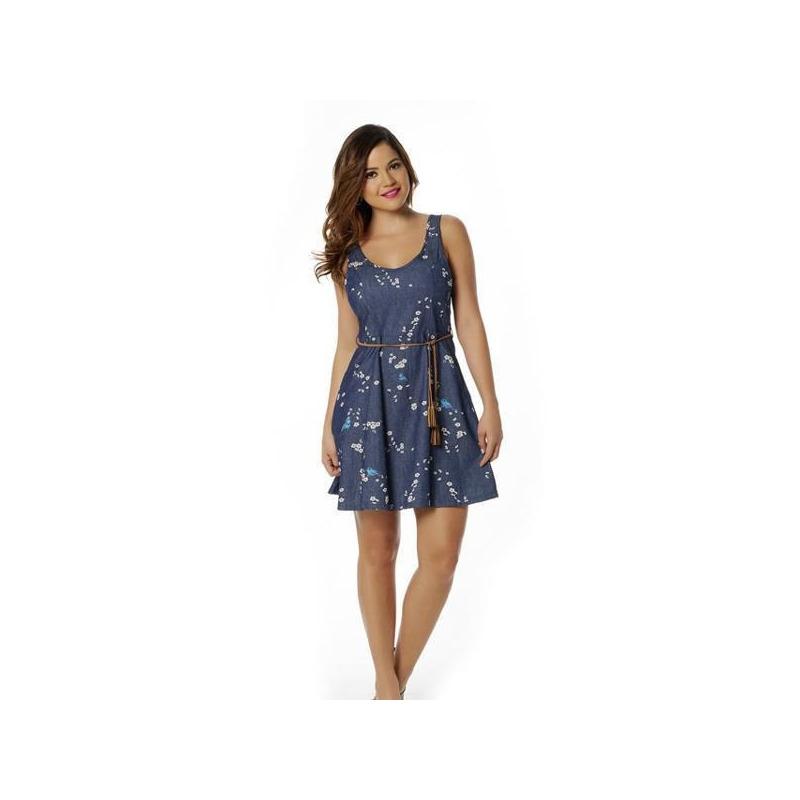 Vestido corto azul mezclilla con fajo café 010580