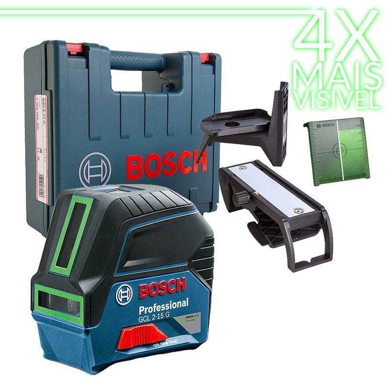 Nível à Laser Verde 4x Mais Visível Linhas em Cruz 15 Metros GCL2-15 G - 0 601 066 J00 - Bosch