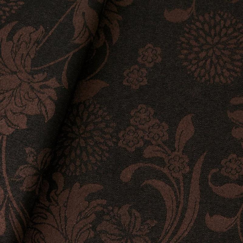 Tecido jacquard floral - marrom/preto - Impermeável -  Coleção Panamá