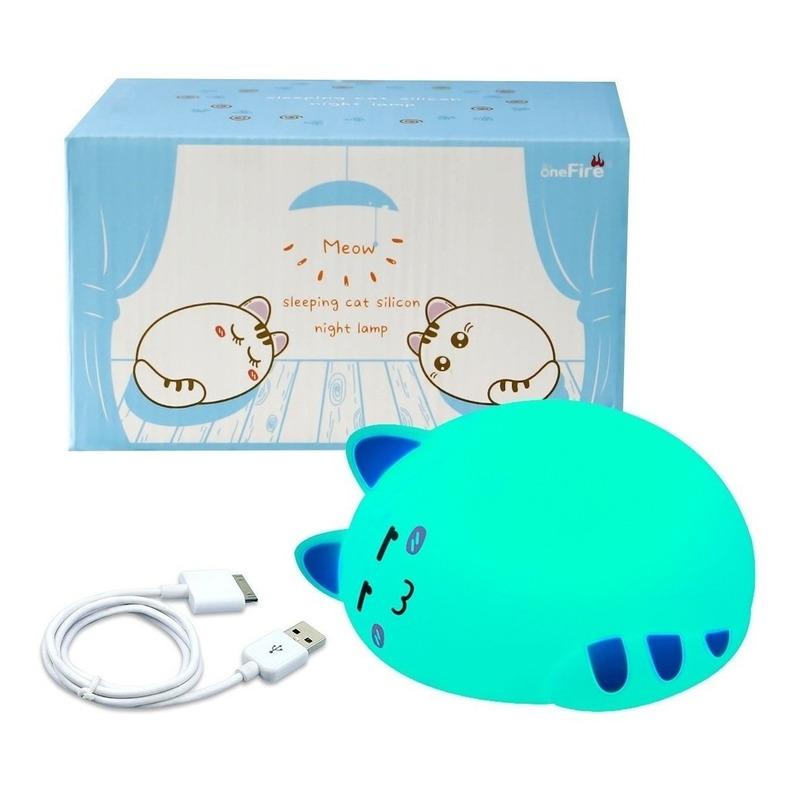 Lampara Velador Infantil Gatito Silicona Led Color 22 Mc