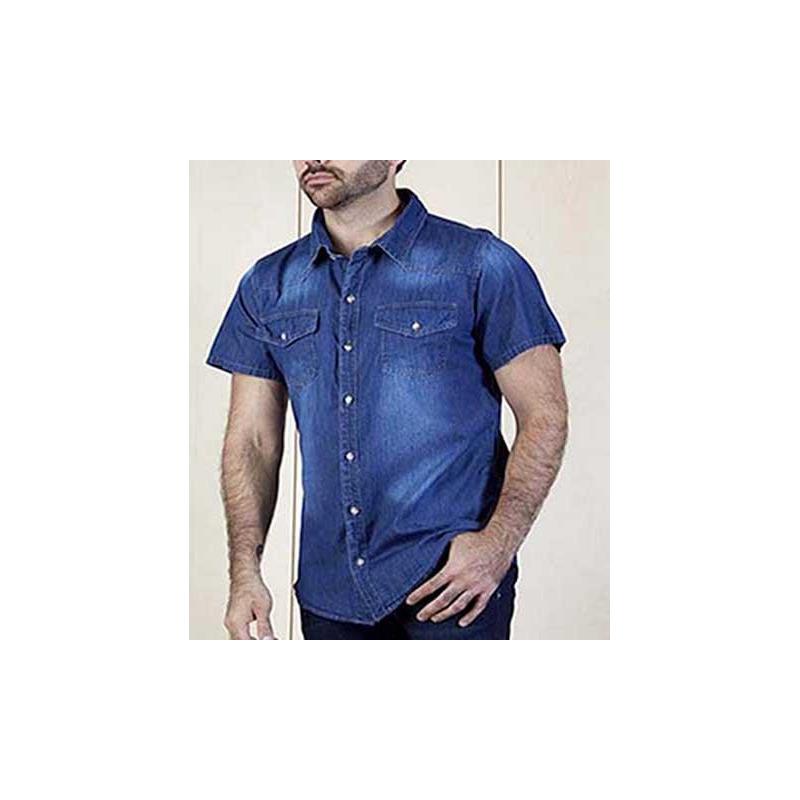 Camisa azul mezclilla estampada manga corta 015330