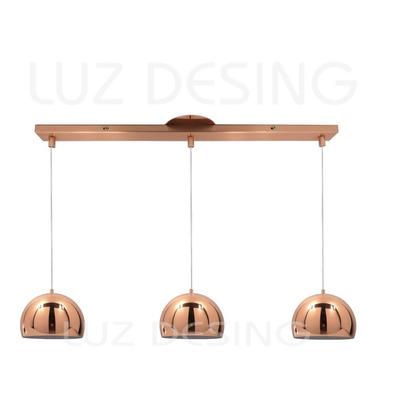 Colgante 3 Luces Cobre 15cm Diseño Moderno Apto Led Lmp