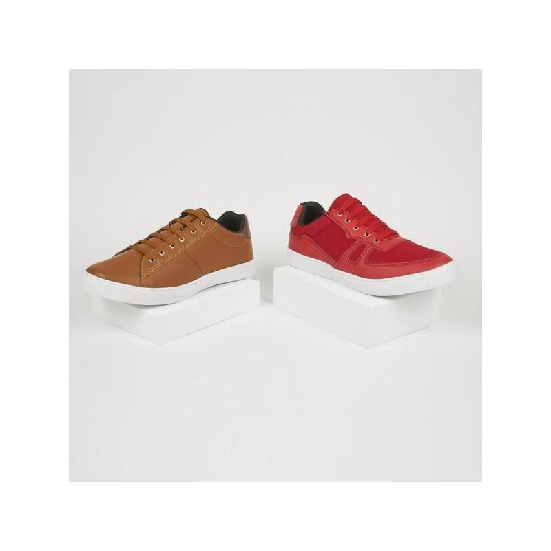 Combo sneakers miel y rojo 018610