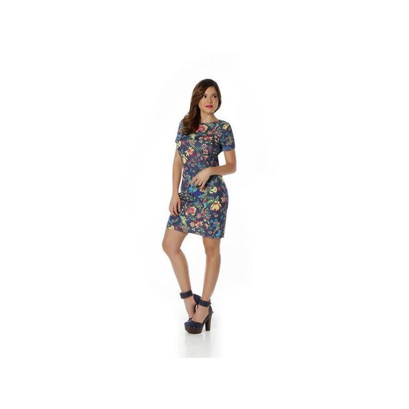 Vestido corto azul multicolor estampado 010578
