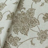 Tecido jacquard  floral em ramos - fendi/branco - Impermeável - Coleção Panamá