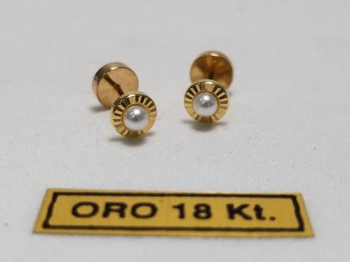 3a4fe7e0eecc Aros Abridores Ch Facetado Y Perla Bebe Nena Oro 18k en venta en ...