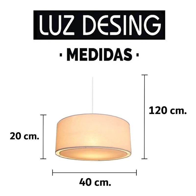 Colgante Pantalla 40cm Para 2 Luces Apto Led Luz Desing