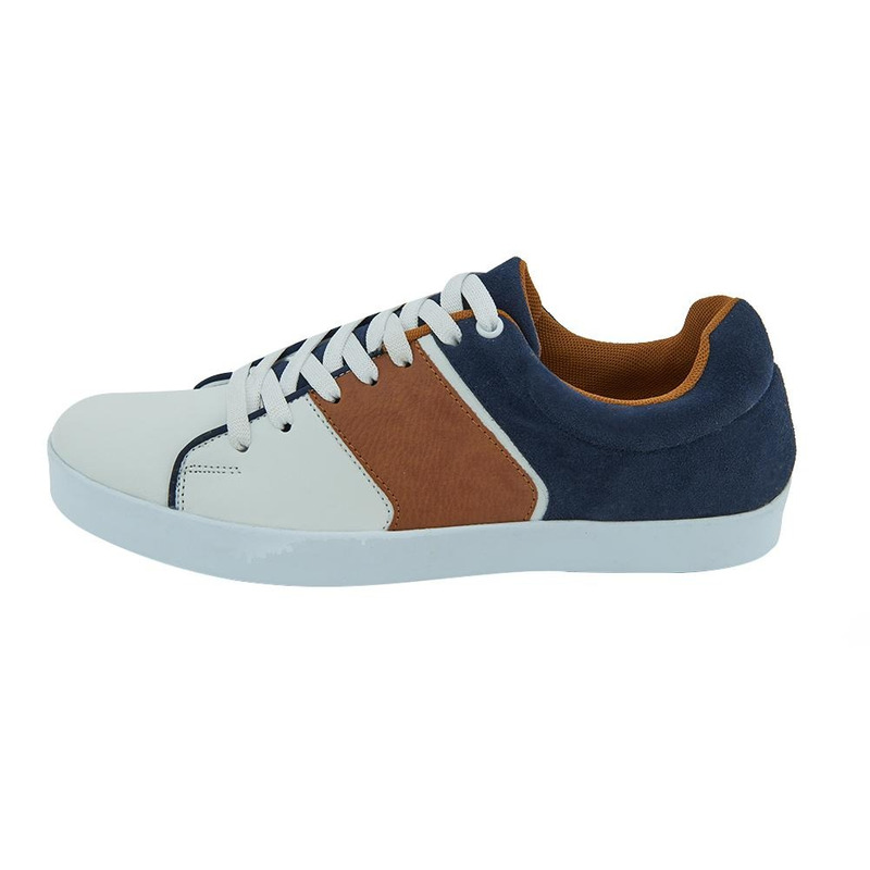Sneakers Color Block Azul, Blanco Y Cafe 017537