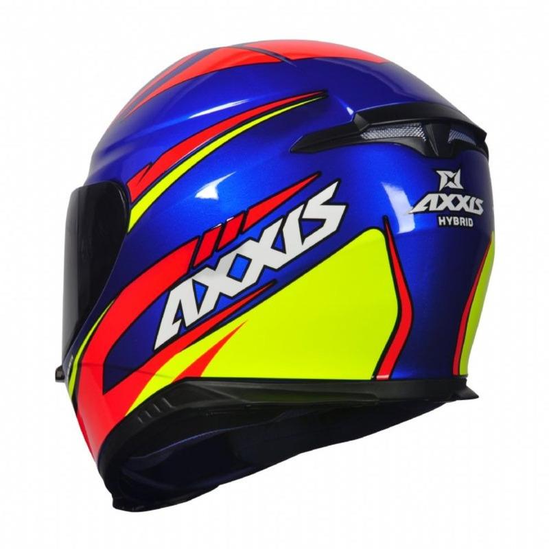 Capacete Axxis Eagle Hybrid Azul Com Viseira Fumê