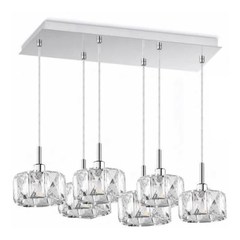 Colgante 6 Luces Mery Cristal Apto Led G9 Deco Moderno Pal