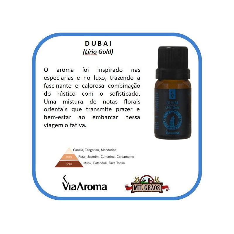Essencia Cidades do Mundo - Dubai - Lirio Gold10ml Via Aroma