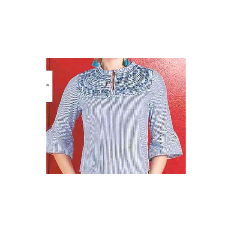 Blusa azul a rayas manga 3/4 015146