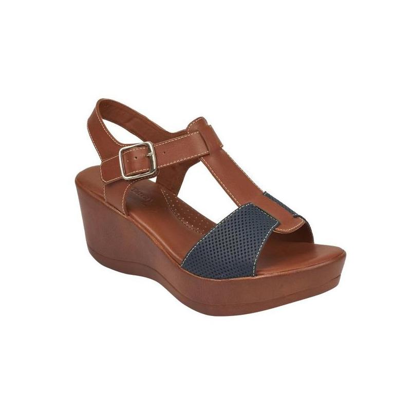 Sandalia plataforma bicolor con pulseras 016735