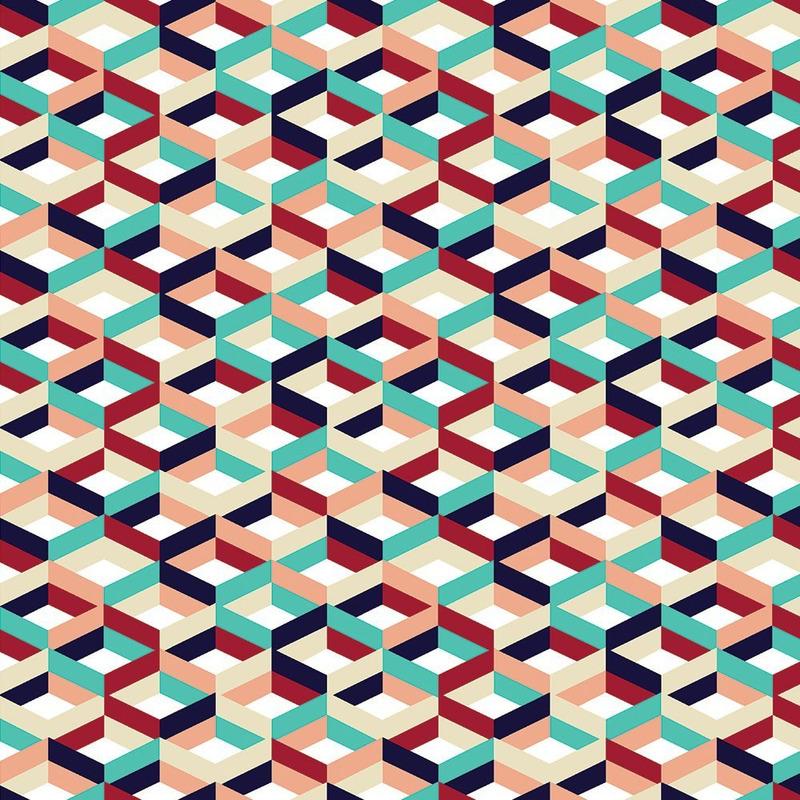Tecido impermeável Acqua Soleil retrô geometric colorido
