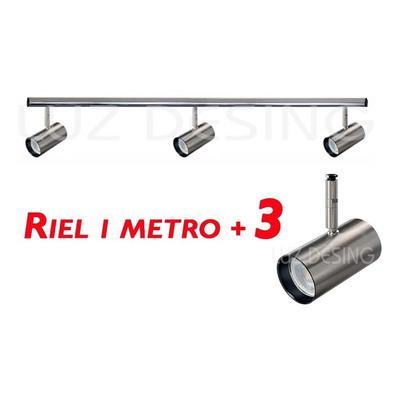 Riel 1 Metro Aluminio Con 3 Spot Acero Apto Led Luz Desing