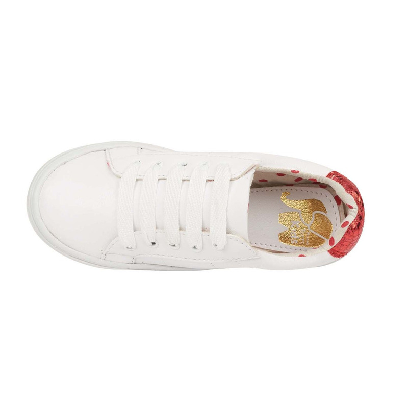 Sneakers blancos talón azul y rojo 018740