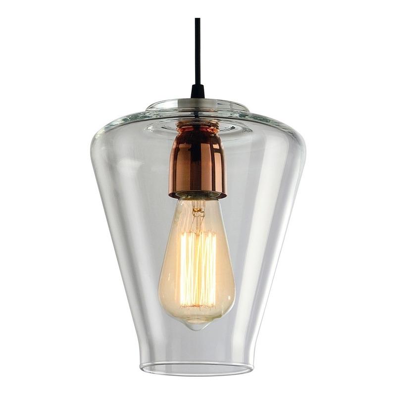 Colgante 2 Luces Cristal Transparente Vintage Cobre Apto Led