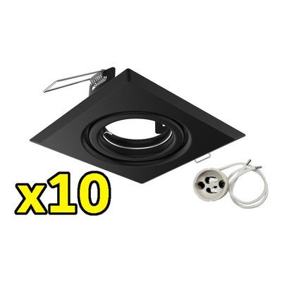 Pack X 10 Spot Embutir Cuadrado Negro Gu10 Sin Lampara