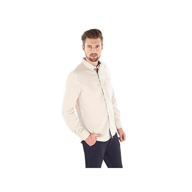 Camisa beige manga larga 014587