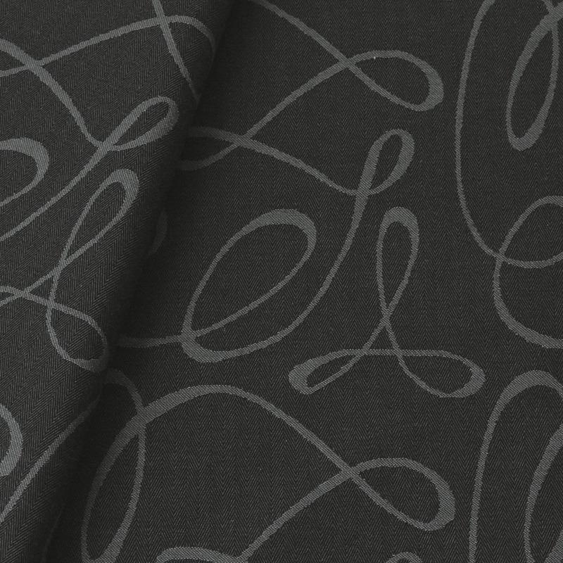 Tecido jacquard  riscado - cinza/preto - Impermeável - Coleção Panamá