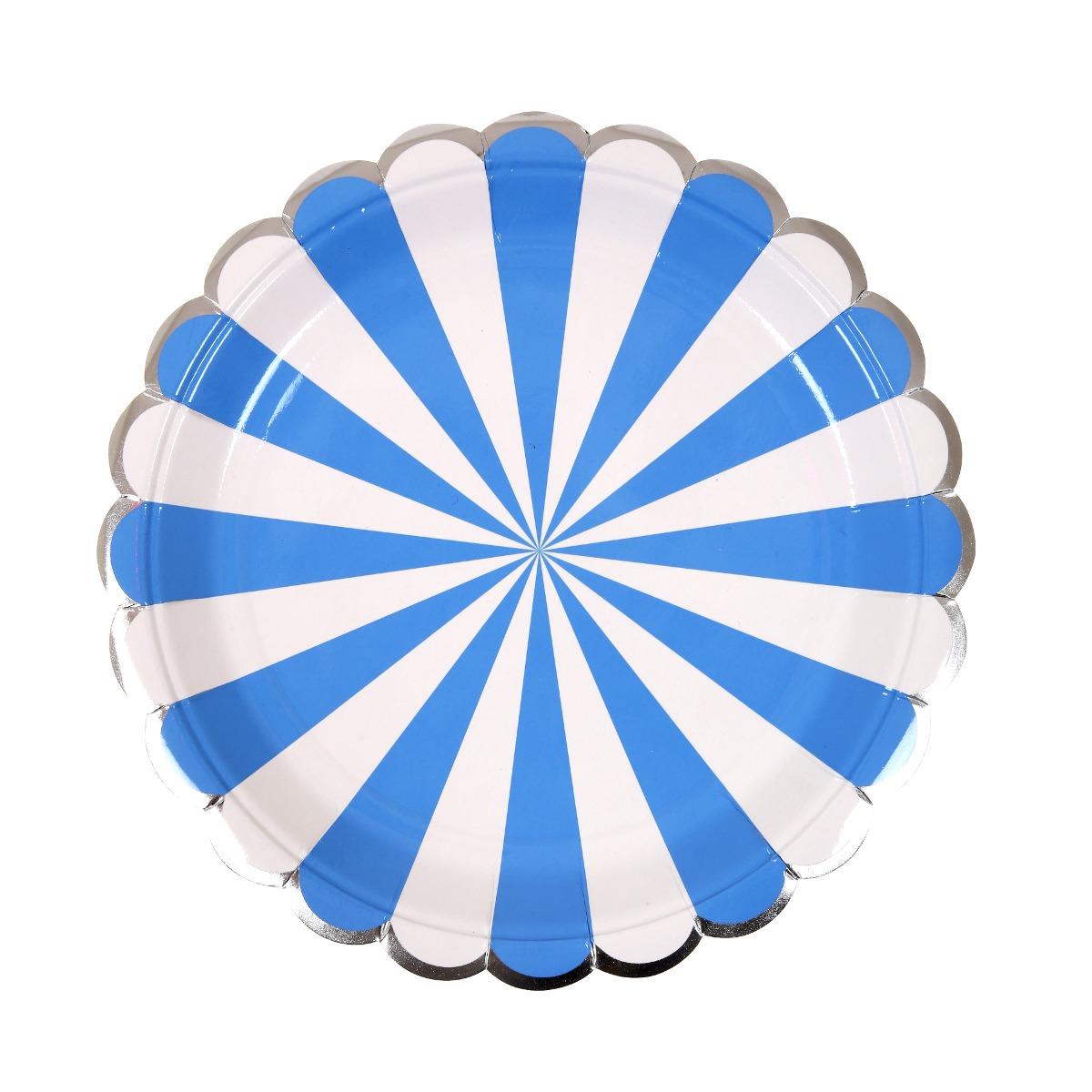 Platos Stripe Azul chicos