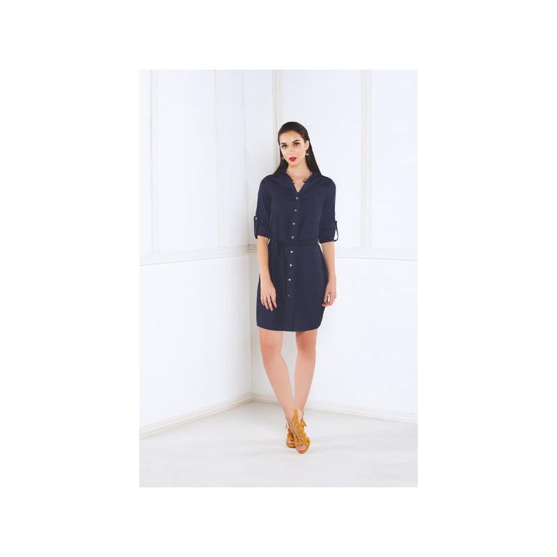 Vestido corto azul mezclilla con botonadura  005382
