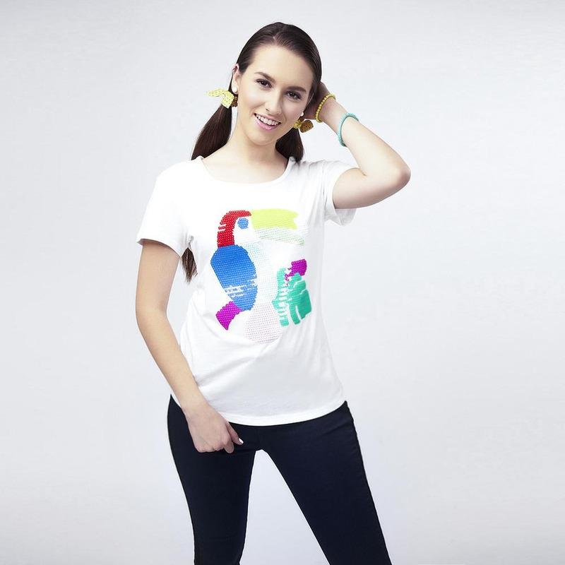 Blusa Blanca Con Figura Multicolor 017260