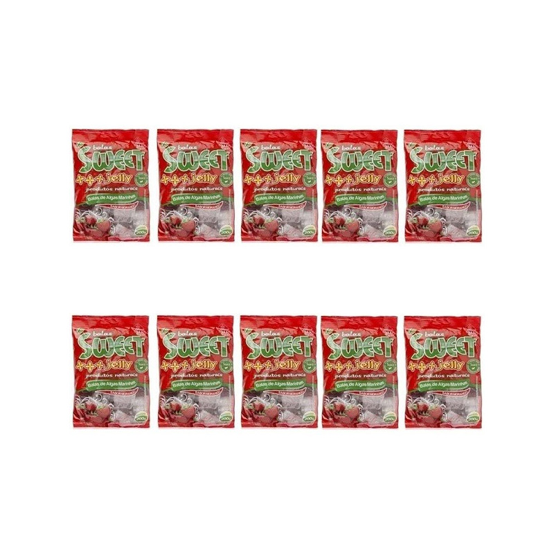 Balas de Algas Sweet Jelly Sabor Morango - Kit 10 x 200g