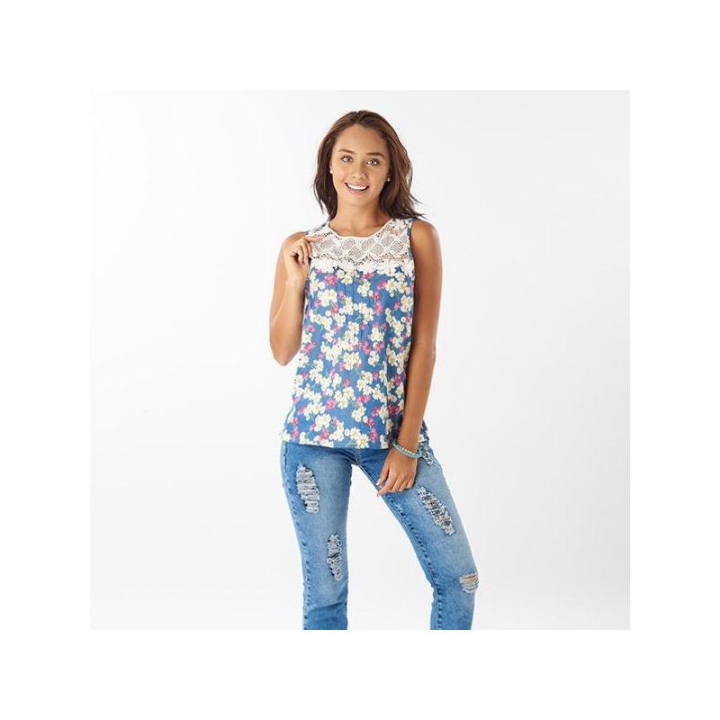 Blusa azul estampada encaje sin manga 015225