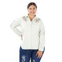 Blusa blanca bordada manga larga 019110