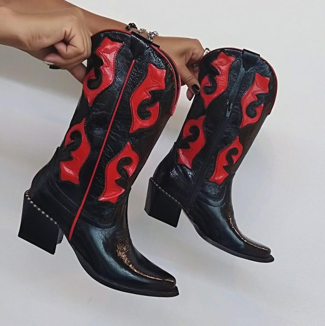Texana Texas Negro/Rojo