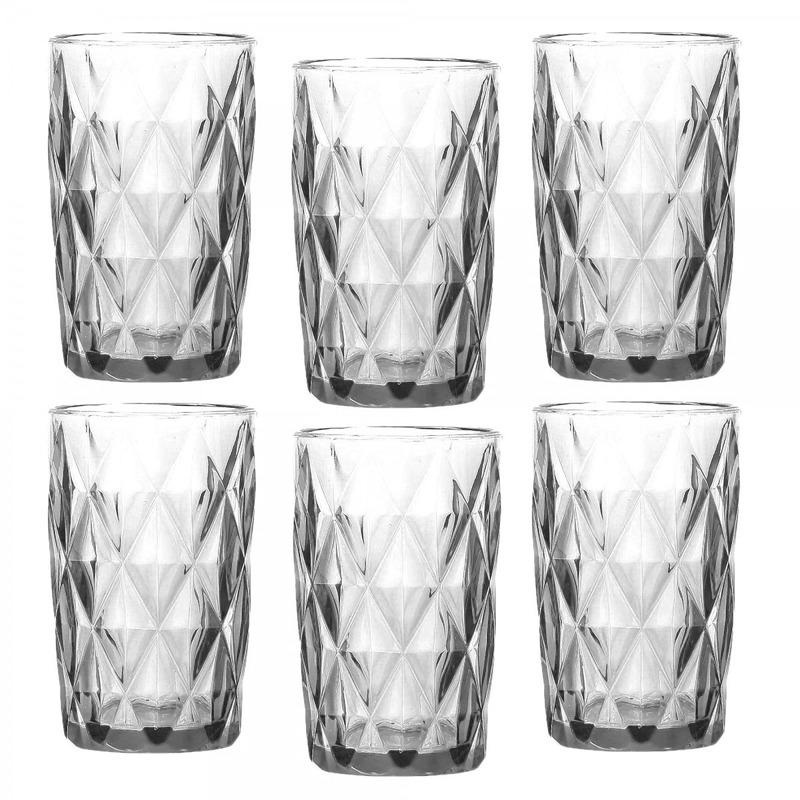 Jogo 6 Copos Diamond em Vidro Transparente 330Ml - Lyor 4106476