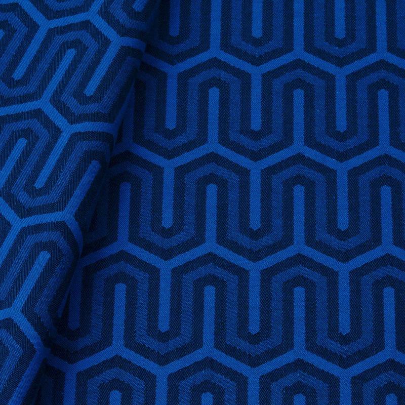 Tecido jacquard para almofada - preto/azul - Impermeável -Coleção Panamá