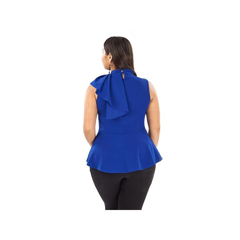 Blusa azul sin manga con olanes  014402P