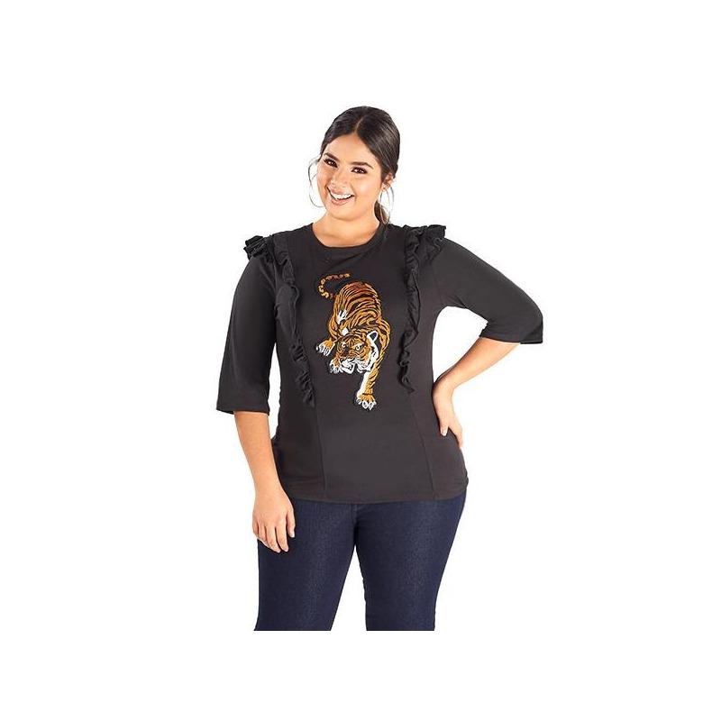 Blusa negra estampada olanes 014403P