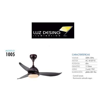 Ventilador Techo Luz Led Control Remoto Mod 1005 Ax