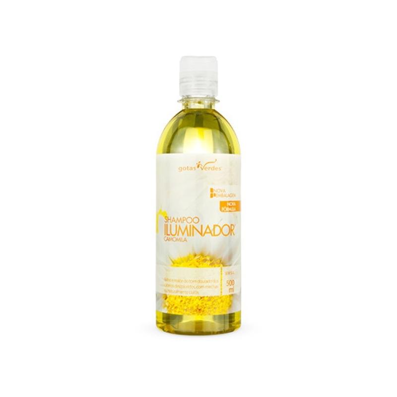 Shampoo Iluminador Extrato de Camomila - 500ml Gotas Verdes
