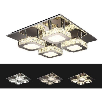 Plafon Araña Led Y Cristal Moderno 48w Alta Potencia Vs