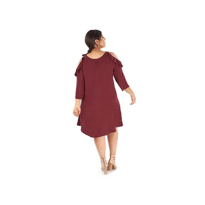 Vestido corto tinto abertura en hombro 019050