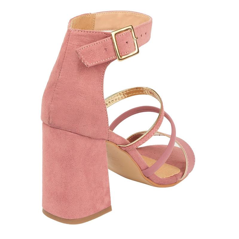 Sandalia tacón rosa con pulseras  015879