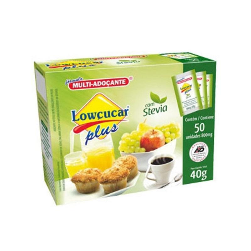 Adocante em Po Stevia Plus - Lowcucar 50 Saches
