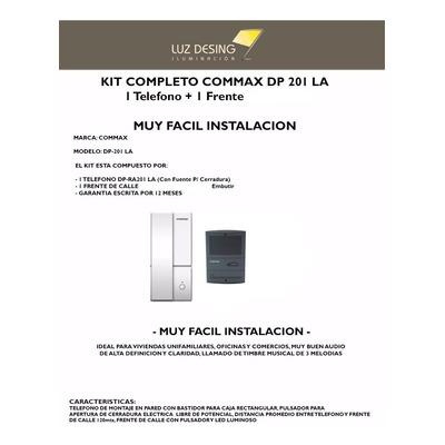 Kit Portero Electrico Commax Dp 201 La Con Abrepuertas Emb