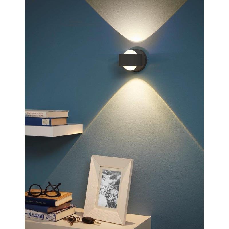 Aplique Pared Ono Led 1 Luz Negro Aluminio Deco Moderno Eglo