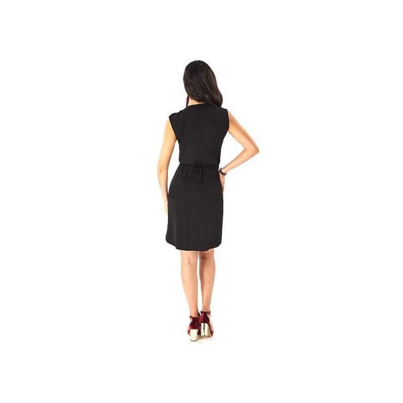 Vestido corto negro con cierre  019088