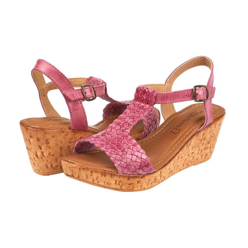 Sandalia plataforma rosa textura 016628