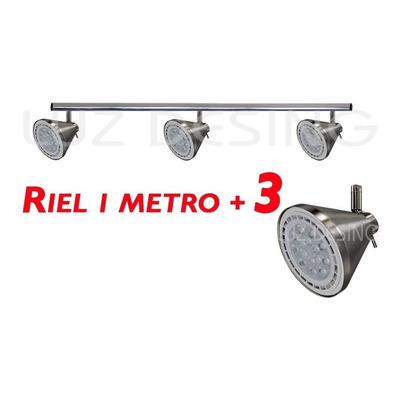 Riel 1 Metro 3 Spot Conico Acero Apto Led Ar111 Calidad